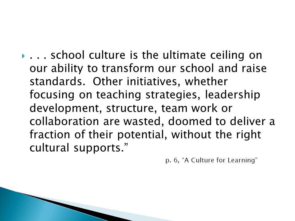 . . . school culture is the ultimate ceiling on our ability to transform our school and raise standards. Other initiatives, whether focusing on teaching strategies, leadership development, structure, team work or collaboration are wasted, doomed to deliver a fraction of their potential, without the right cultural supports.