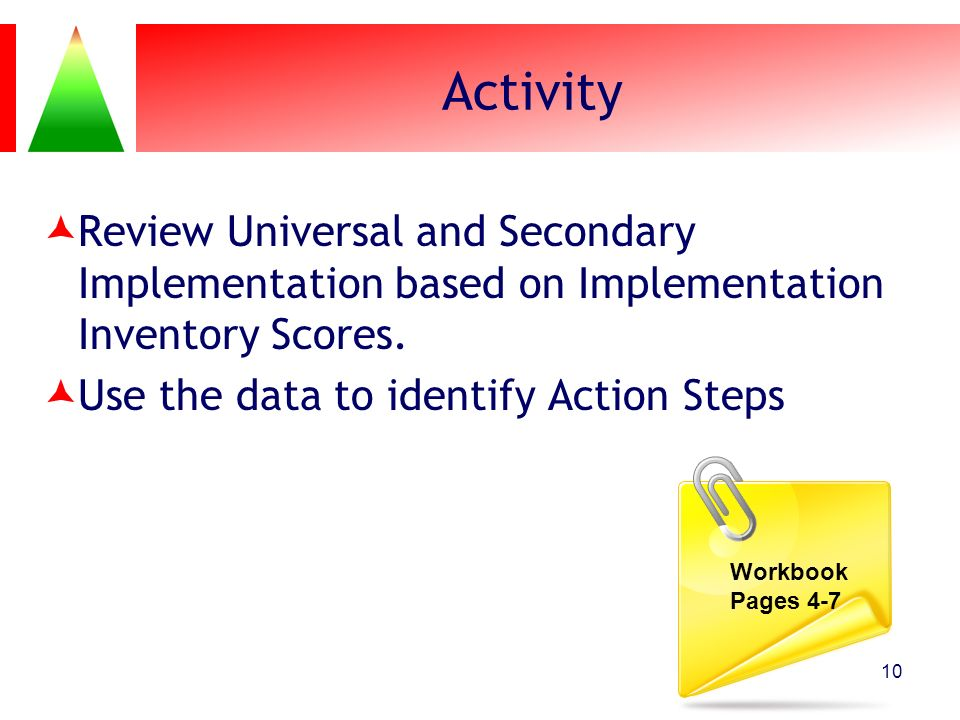 Activity Review Universal and Secondary Implementation based on Implementation Inventory Scores. Use the data to identify Action Steps.