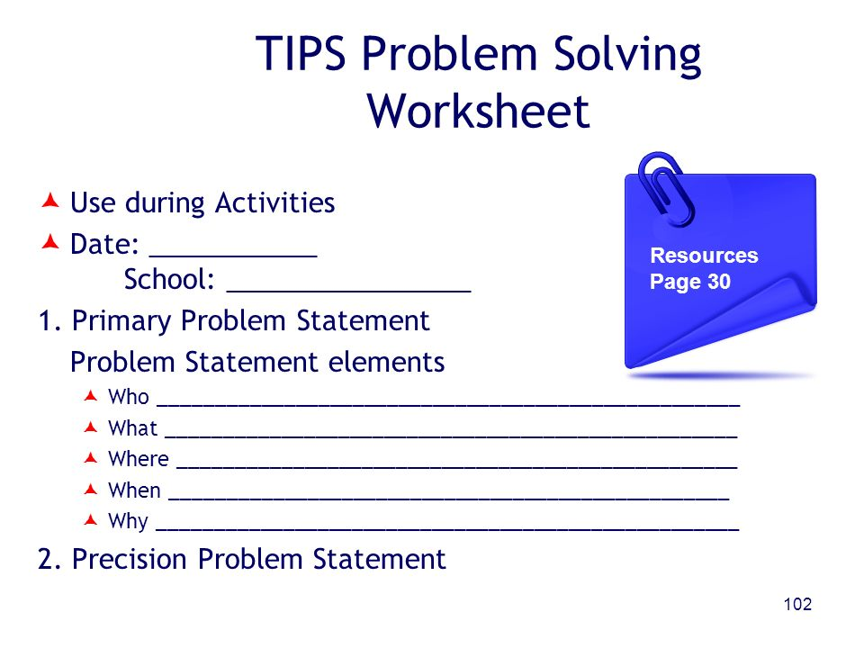 TIPS Problem Solving Worksheet