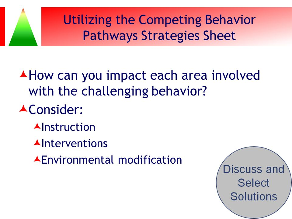 Utilizing the Competing Behavior Pathways Strategies Sheet