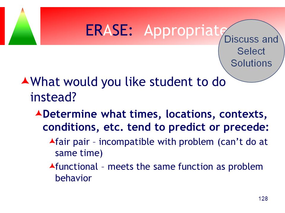 ERASE: Appropriate What would you like student to do instead
