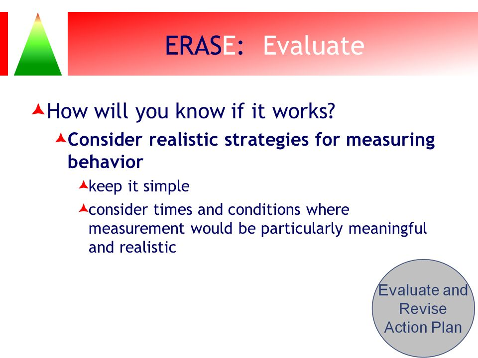 ERASE: Evaluate How will you know if it works