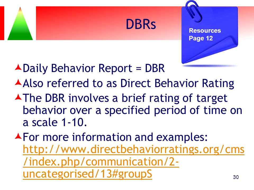 DBRs Daily Behavior Report = DBR
