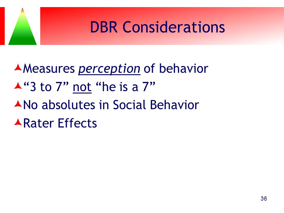 DBR Considerations Measures perception of behavior