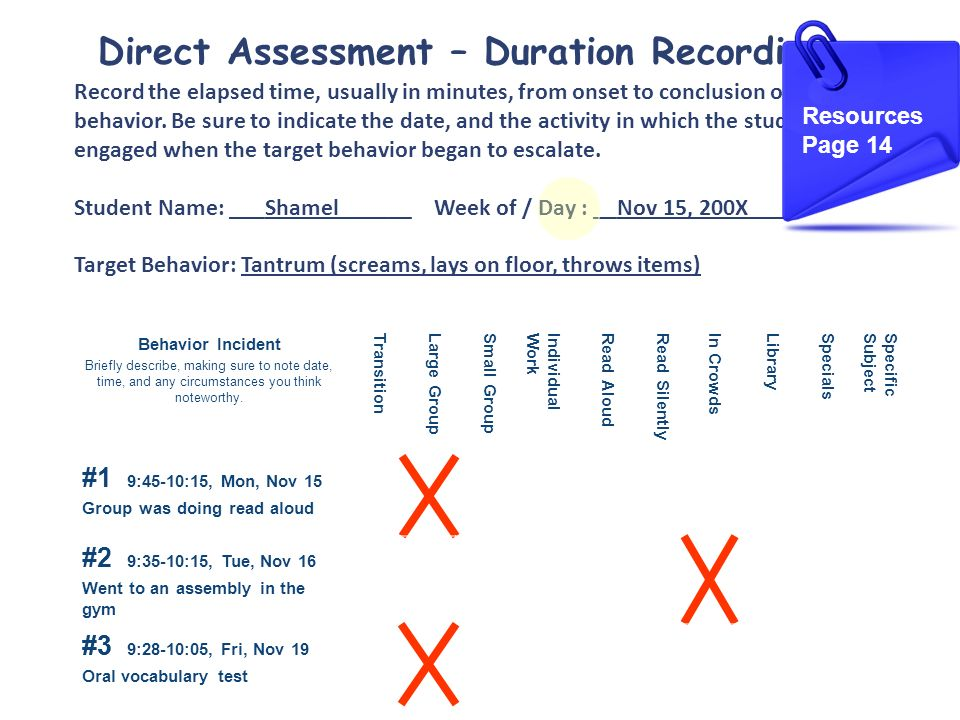 Direct Assessment – Duration Recording