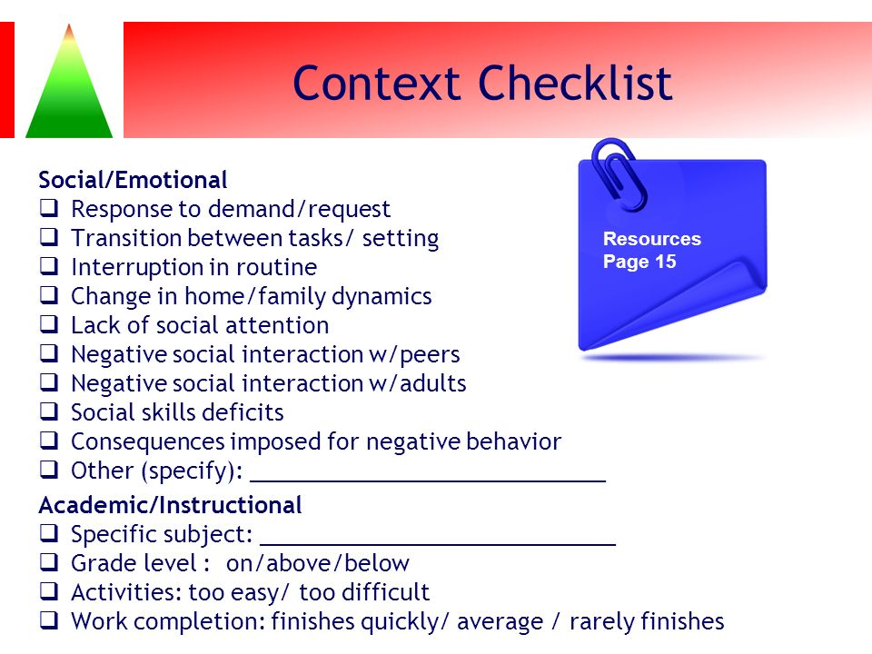 Context Checklist Social/Emotional Response to demand/request