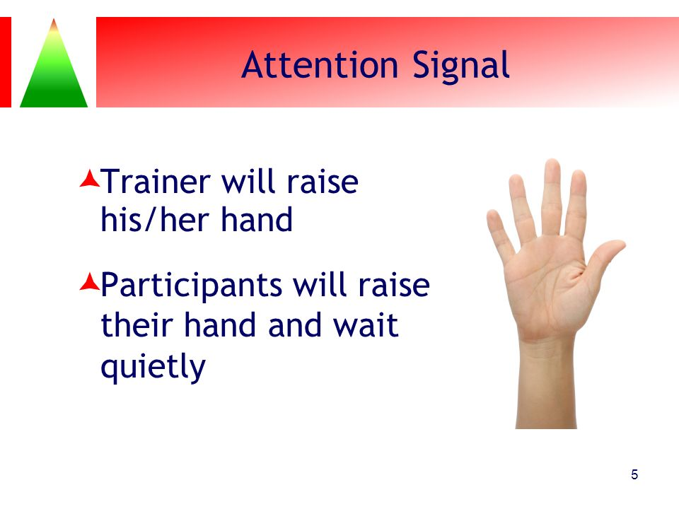 Attention Signal Trainer will raise his/her hand