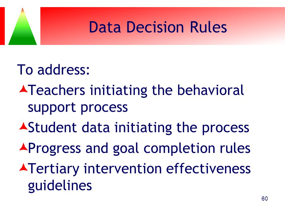 Data Decision Rules To address: