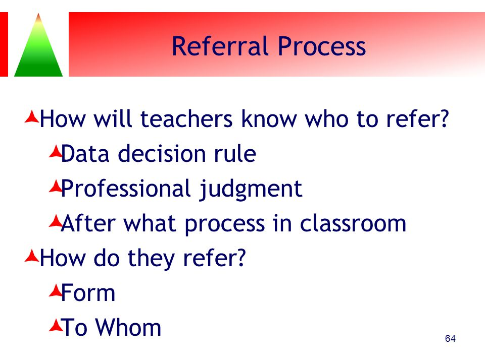 Referral Process How will teachers know who to refer