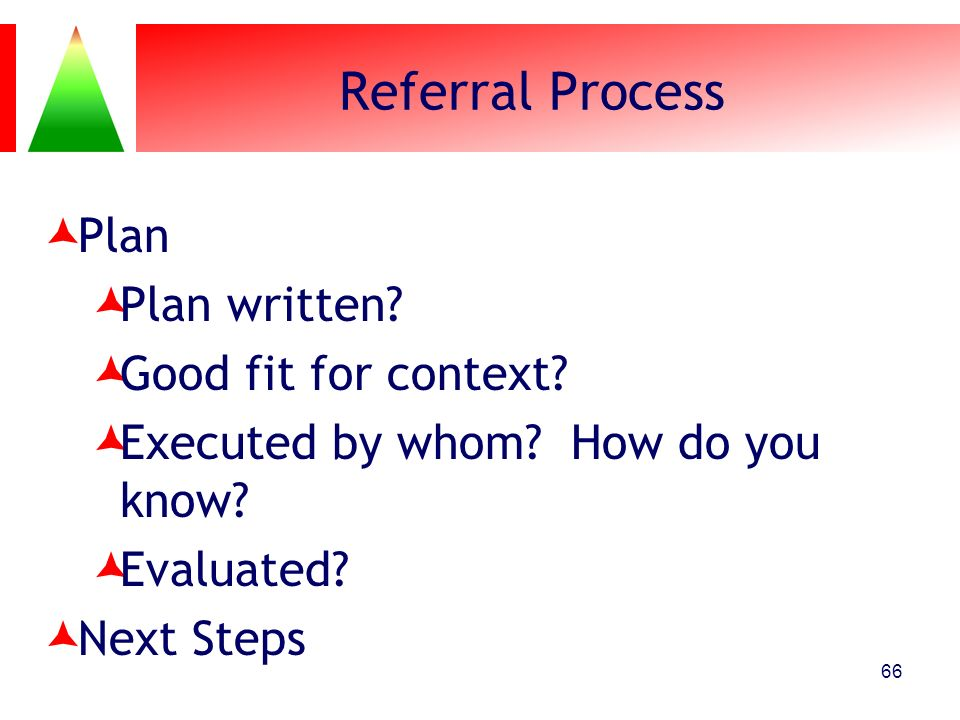 Referral Process Plan Plan written Good fit for context
