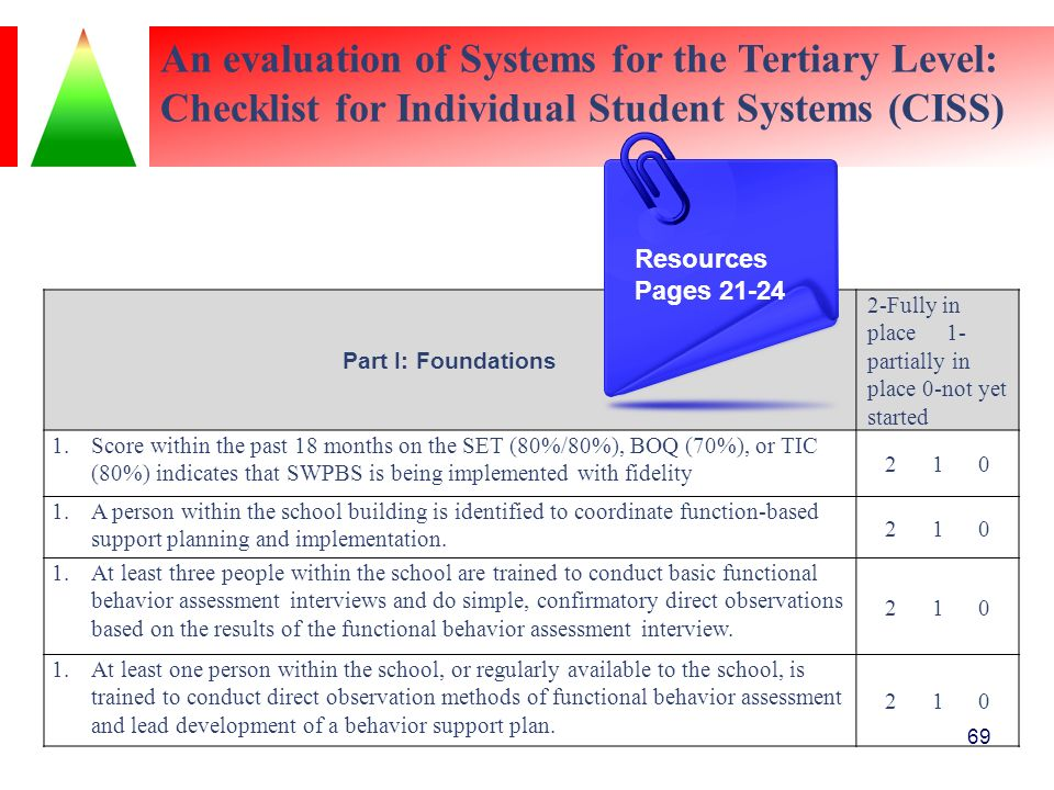 An evaluation of Systems for the Tertiary Level: