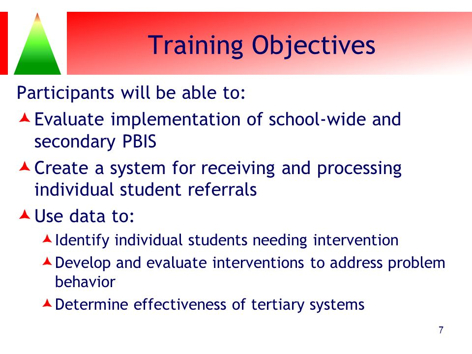 Training Objectives Participants will be able to: