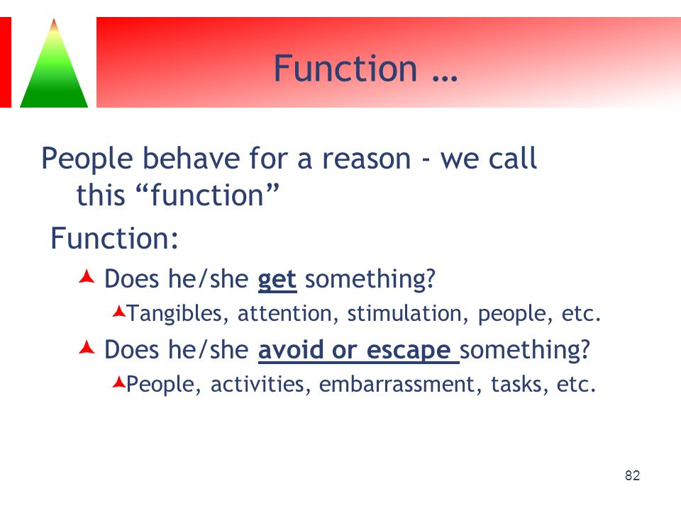 Function … People behave for a reason - we call this function