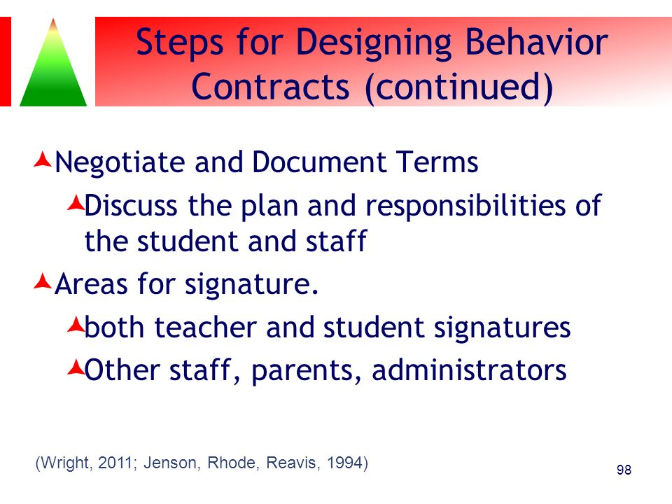 Steps for Designing Behavior Contracts (continued)