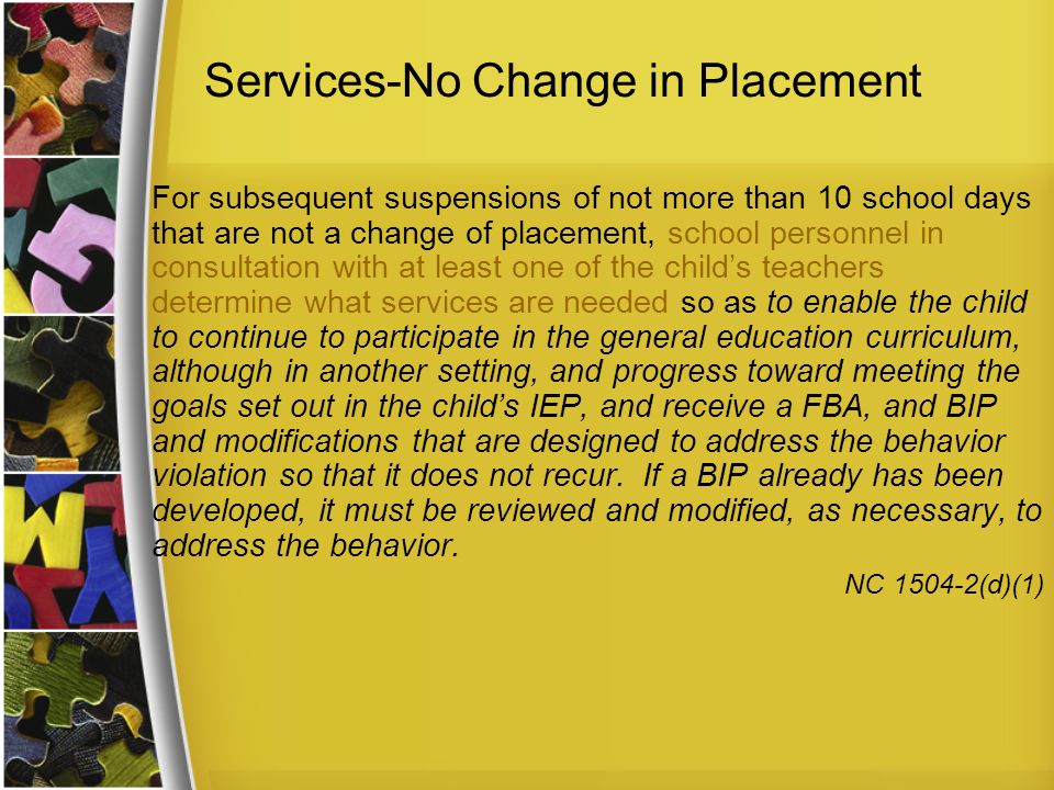 Services-No Change in Placement