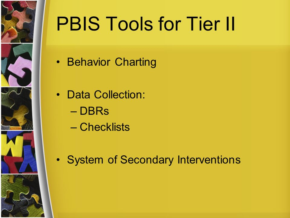PBIS Tools for Tier II Behavior Charting Data Collection: DBRs