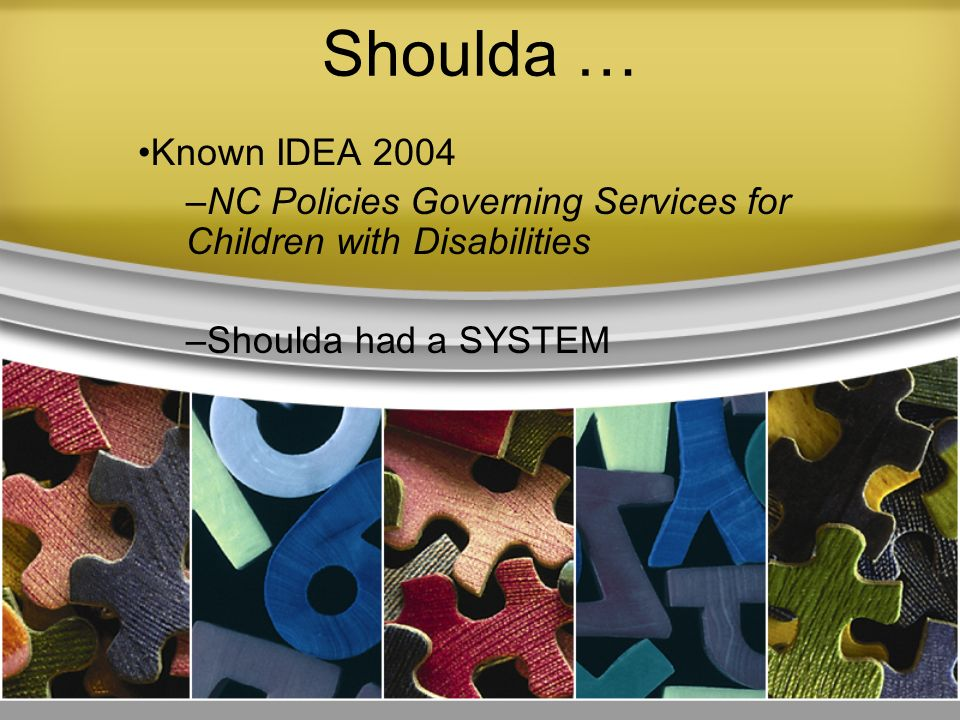 Shoulda … Known IDEA 2004. NC Policies Governing Services for Children with Disabilities.