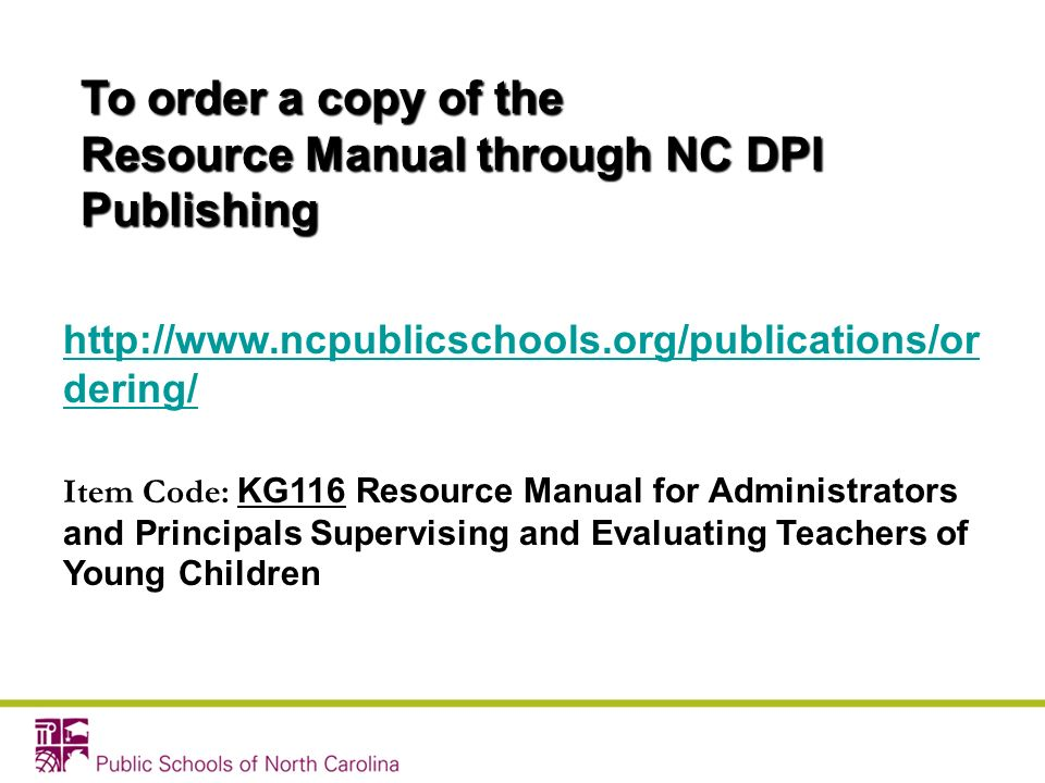 Resource Manual through NC DPI Publishing