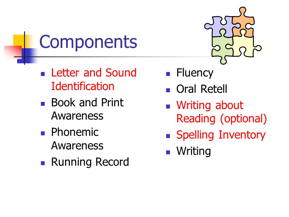 Components Letter and Sound Identification Book and Print Awareness