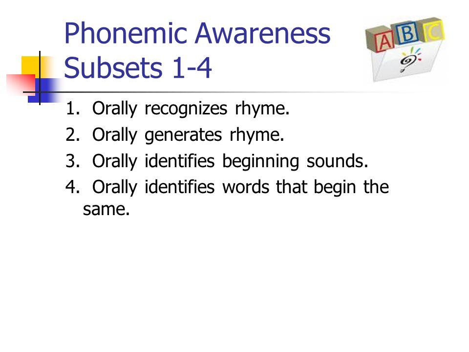 Phonemic Awareness Subsets 1-4