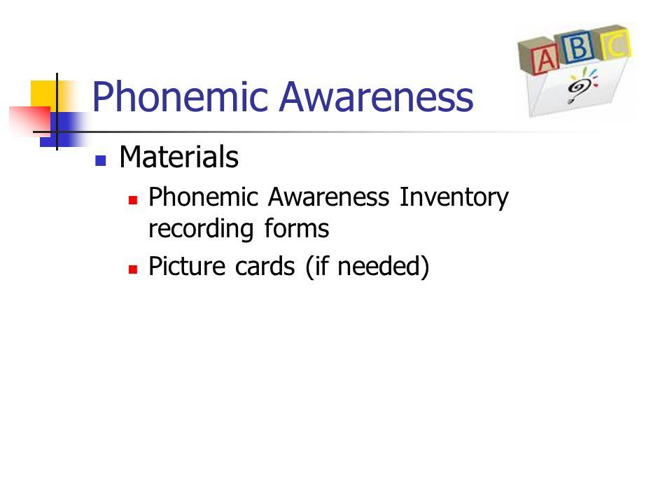 Phonemic Awareness Materials