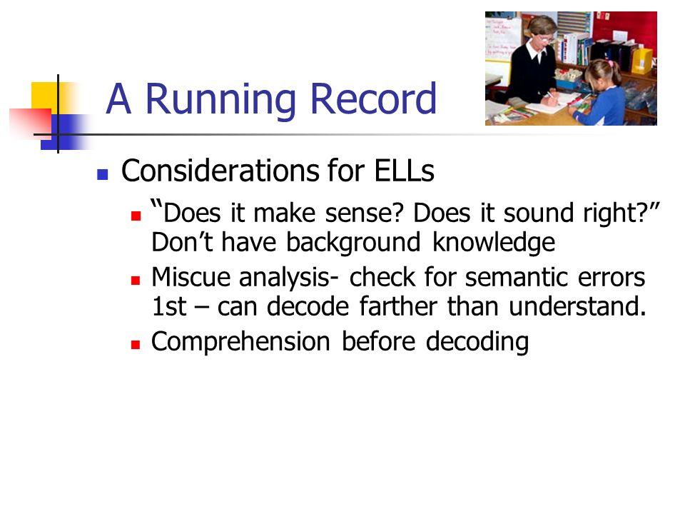 A Running Record Considerations for ELLs