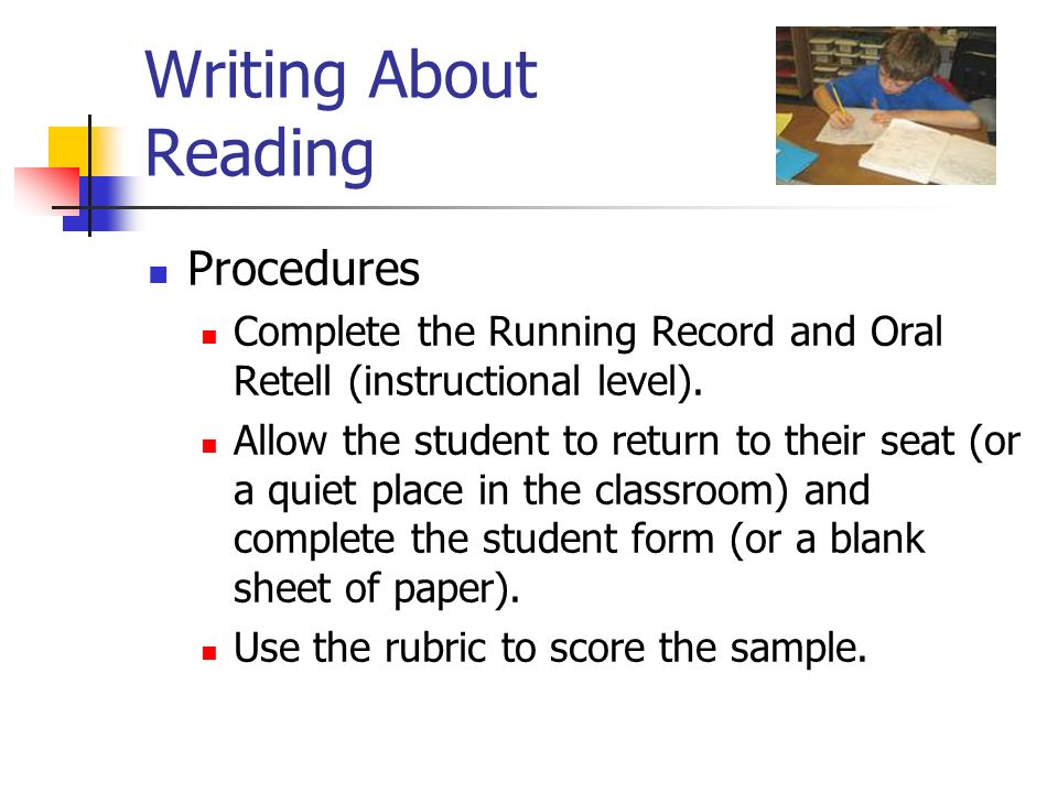 Writing About Reading Procedures