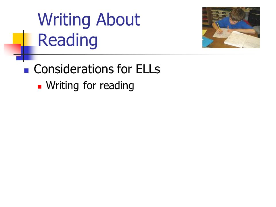 Writing About Reading Considerations for ELLs Writing for reading