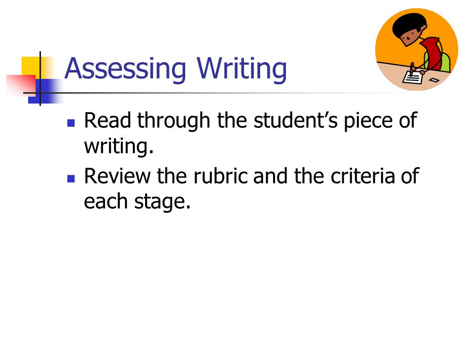 Assessing Writing Read through the student's piece of writing.