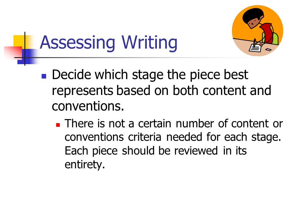 Assessing Writing Decide which stage the piece best represents based on both content and conventions.
