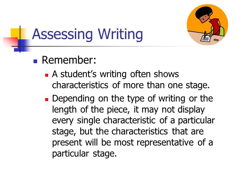 Assessing Writing Remember: