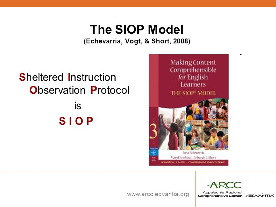 The SIOP Model (Echevarria, Vogt, & Short, 2008)
