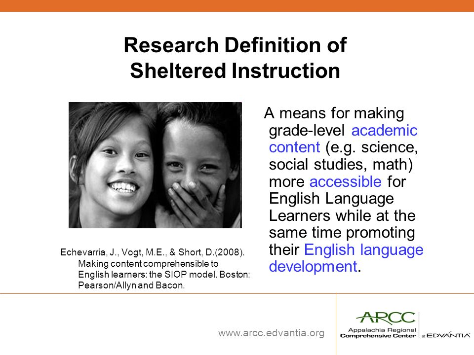 Research Definition of Sheltered Instruction