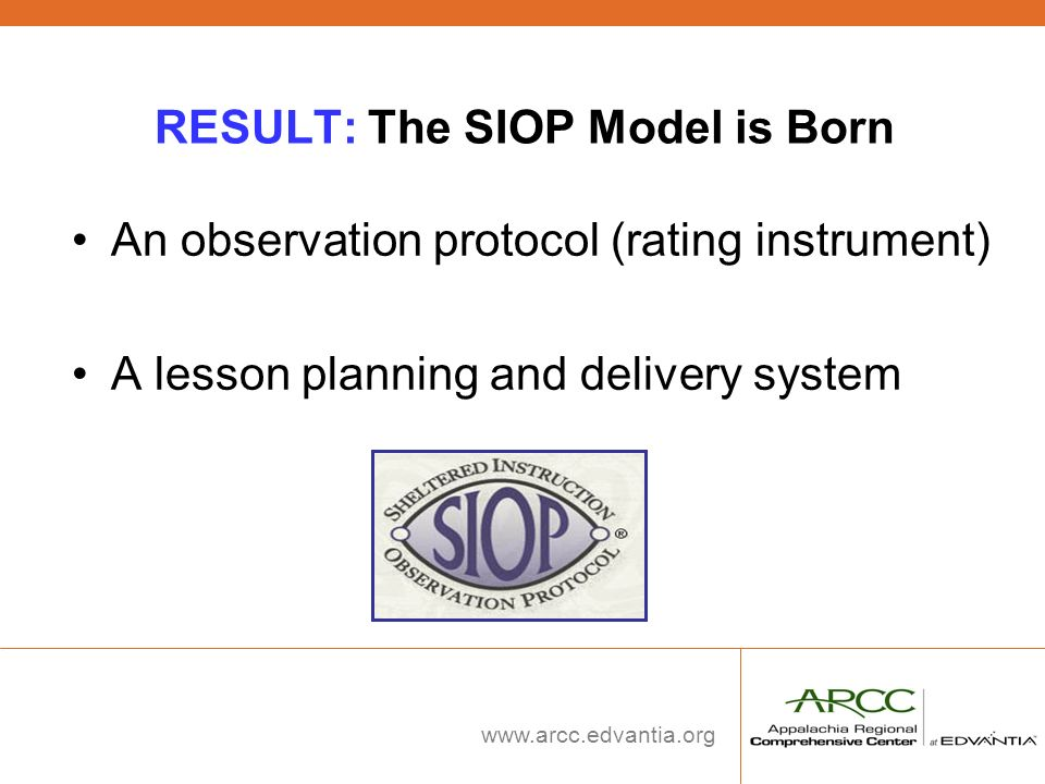 RESULT: The SIOP Model is Born