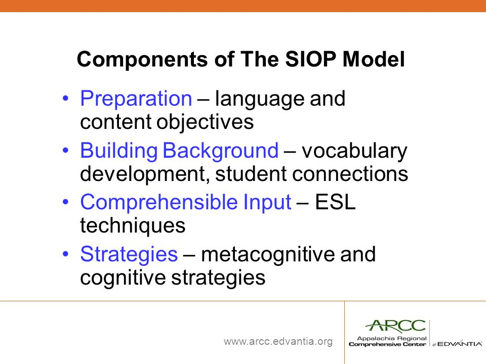 Components of The SIOP Model