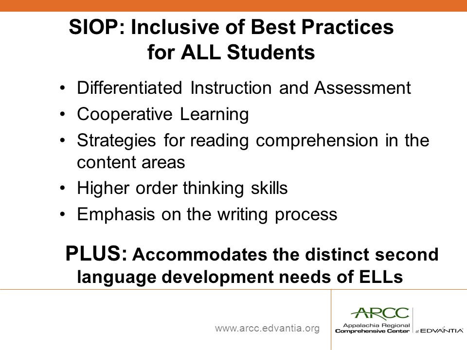 SIOP: Inclusive of Best Practices for ALL Students