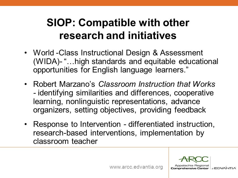SIOP: Compatible with other research and initiatives