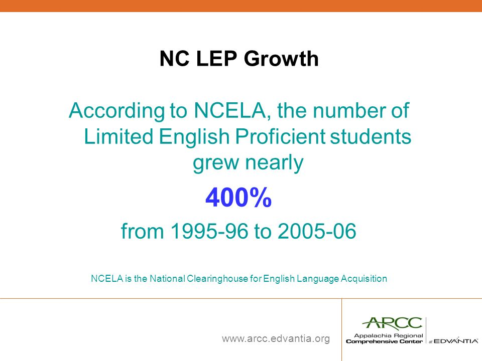NCELA is the National Clearinghouse for English Language Acquisition