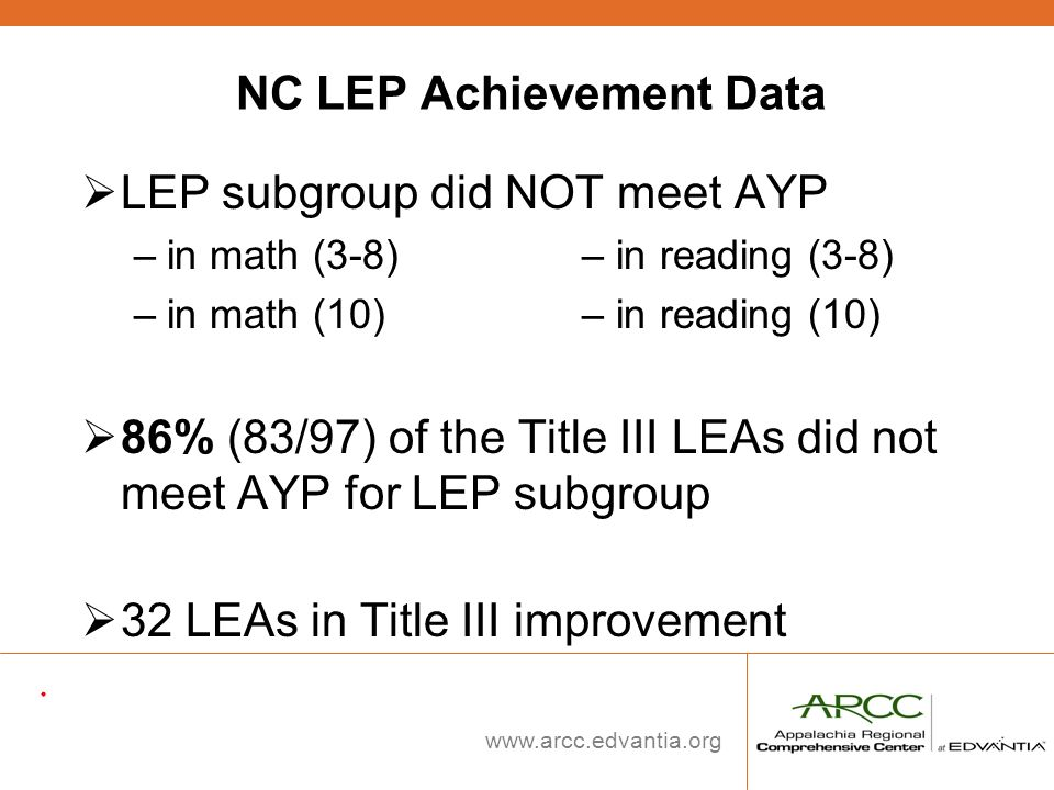 NC LEP Achievement Data