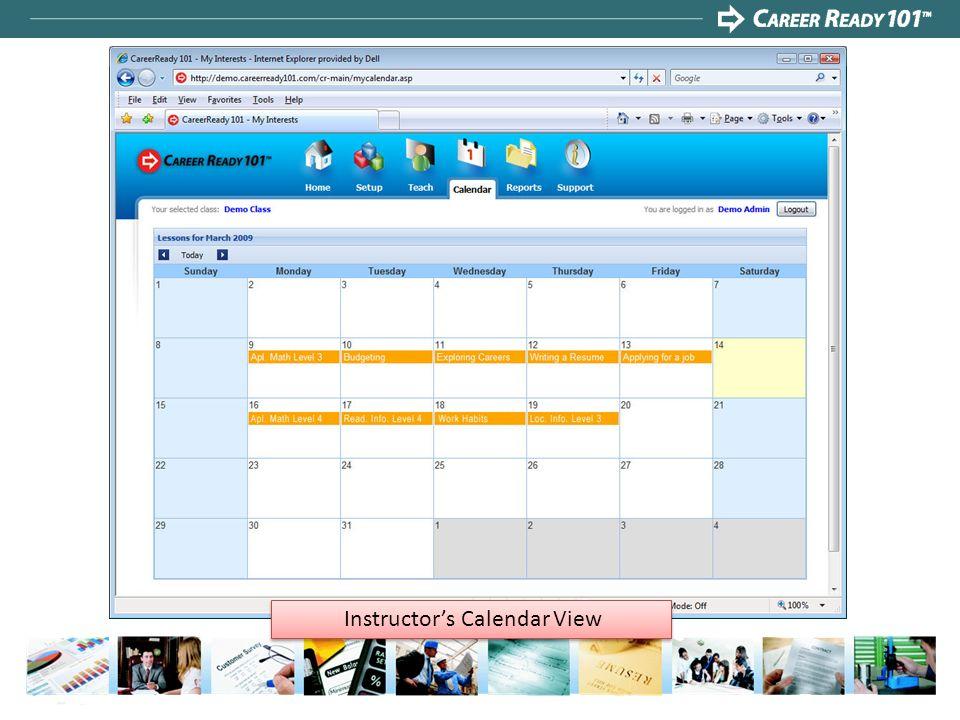 Instructor's Calendar View