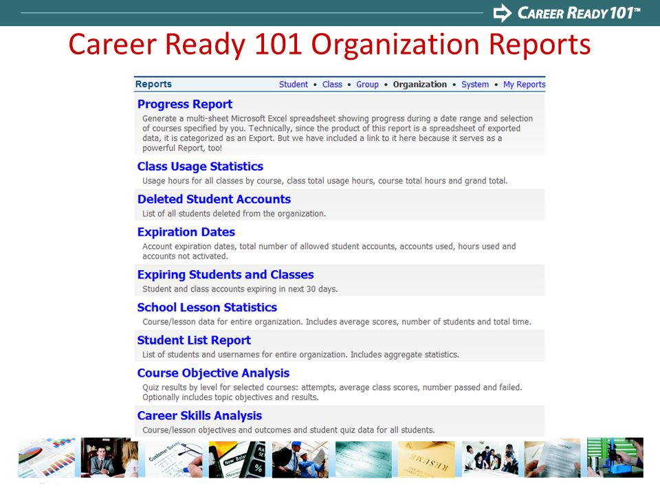 Career Ready 101 Organization Reports