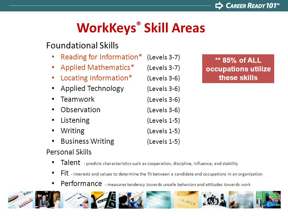 ** 85% of ALL occupations utilize these skills