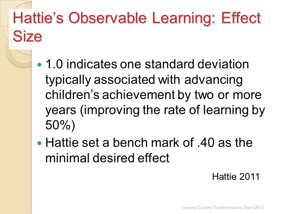 Hattie's Observable Learning: Effect Size