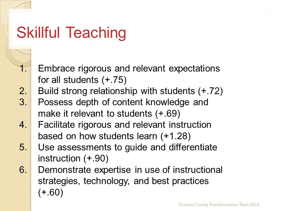 Skillful Teaching Embrace rigorous and relevant expectations for all students (+.75) Build strong relationship with students (+.72)