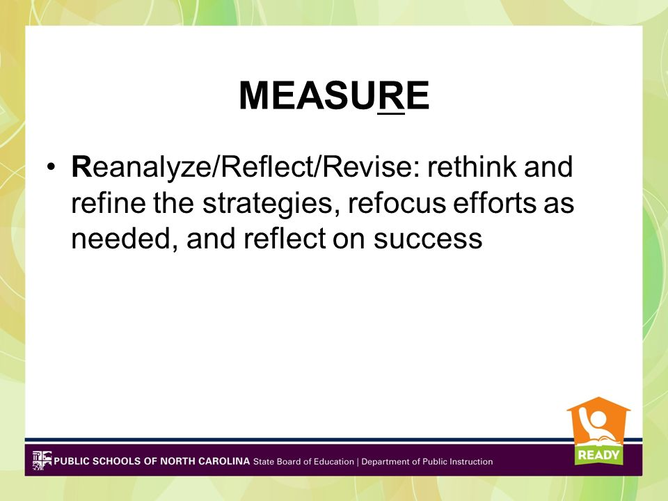 MEASURE Reanalyze/Reflect/Revise: rethink and refine the strategies, refocus efforts as needed, and reflect on success.
