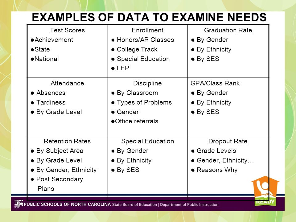 EXAMPLES OF DATA TO EXAMINE NEEDS