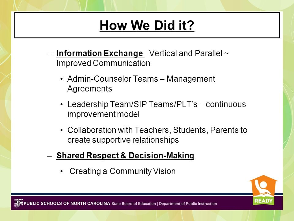 How We Did it Information Exchange - Vertical and Parallel ~ Improved Communication. Admin-Counselor Teams – Management Agreements.