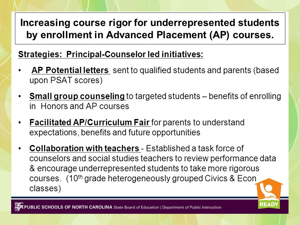 Increasing course rigor for underrepresented students by enrollment in Advanced Placement (AP) courses.