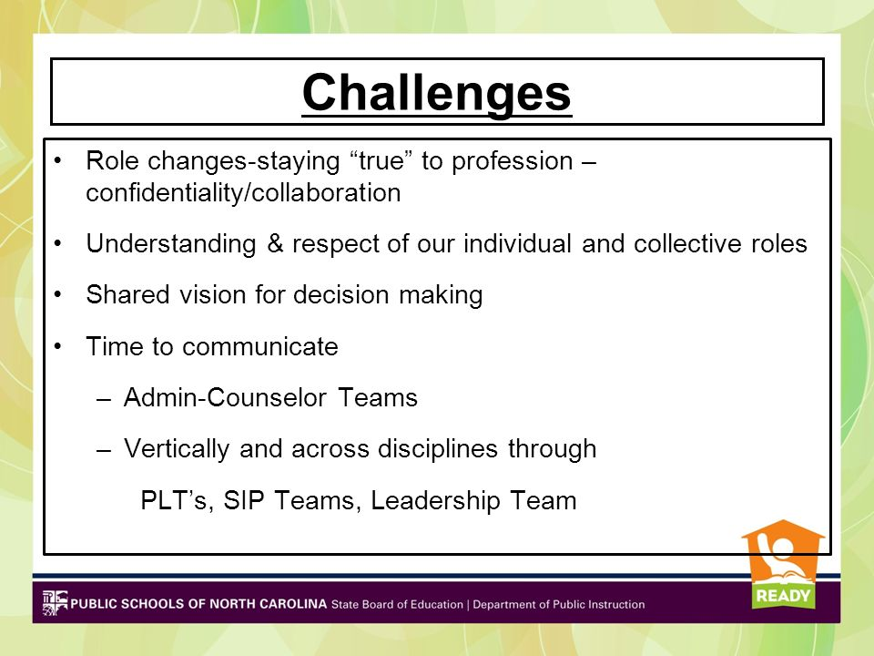Challenges Role changes-staying true to profession – confidentiality/collaboration.