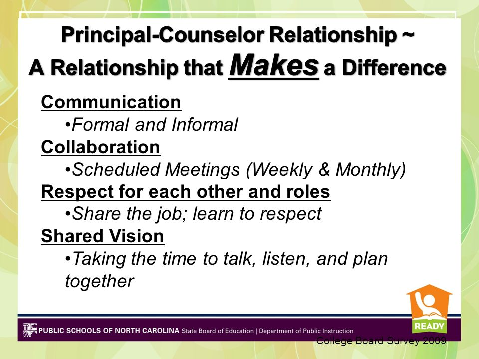 Principal-Counselor Relationship ~ A Relationship that Makes a Difference